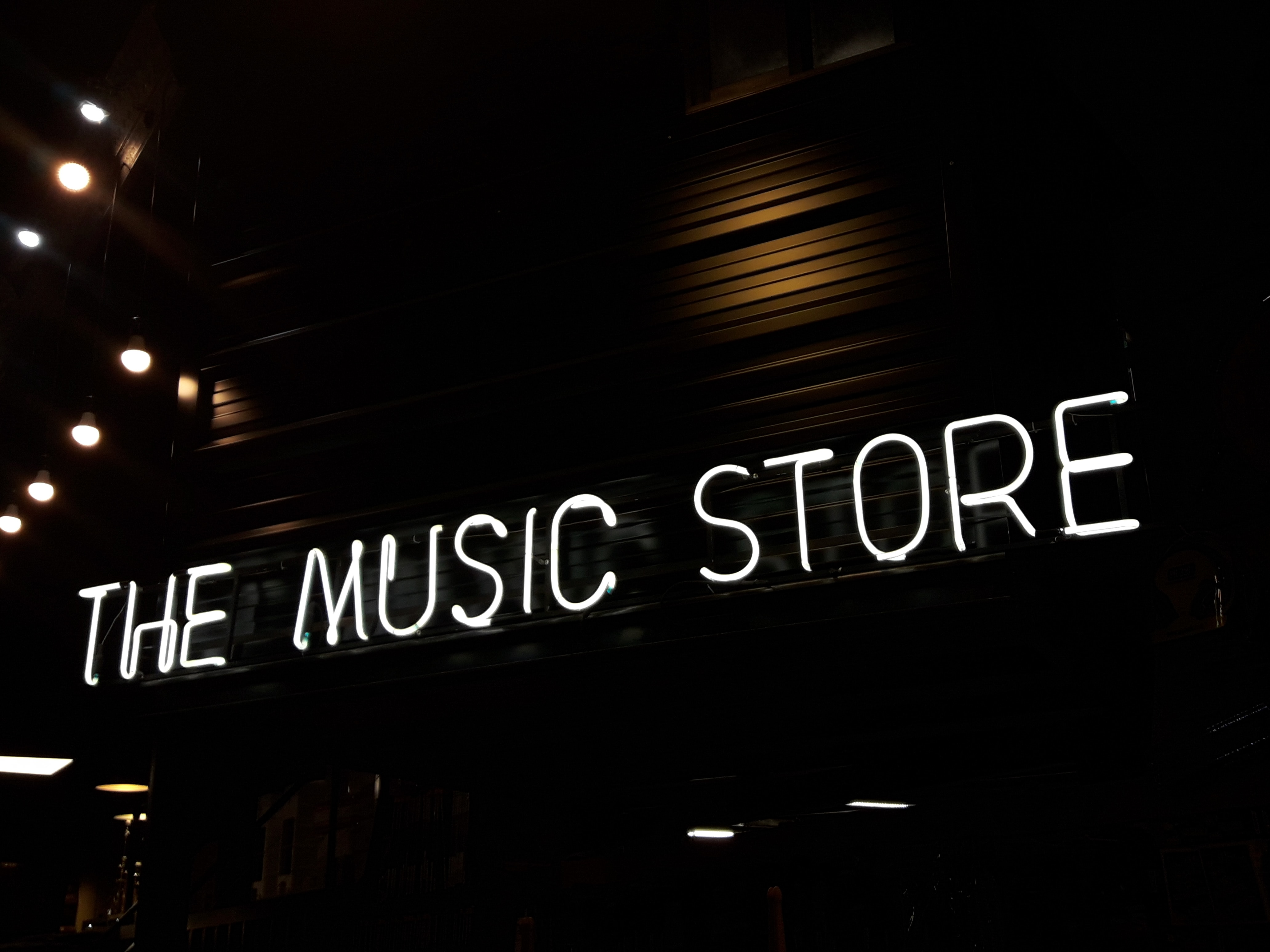 Neon sign for the music store