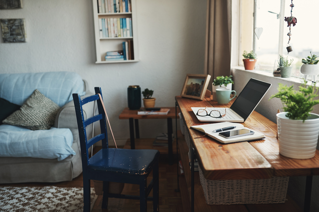 A home office inside an apartment.
