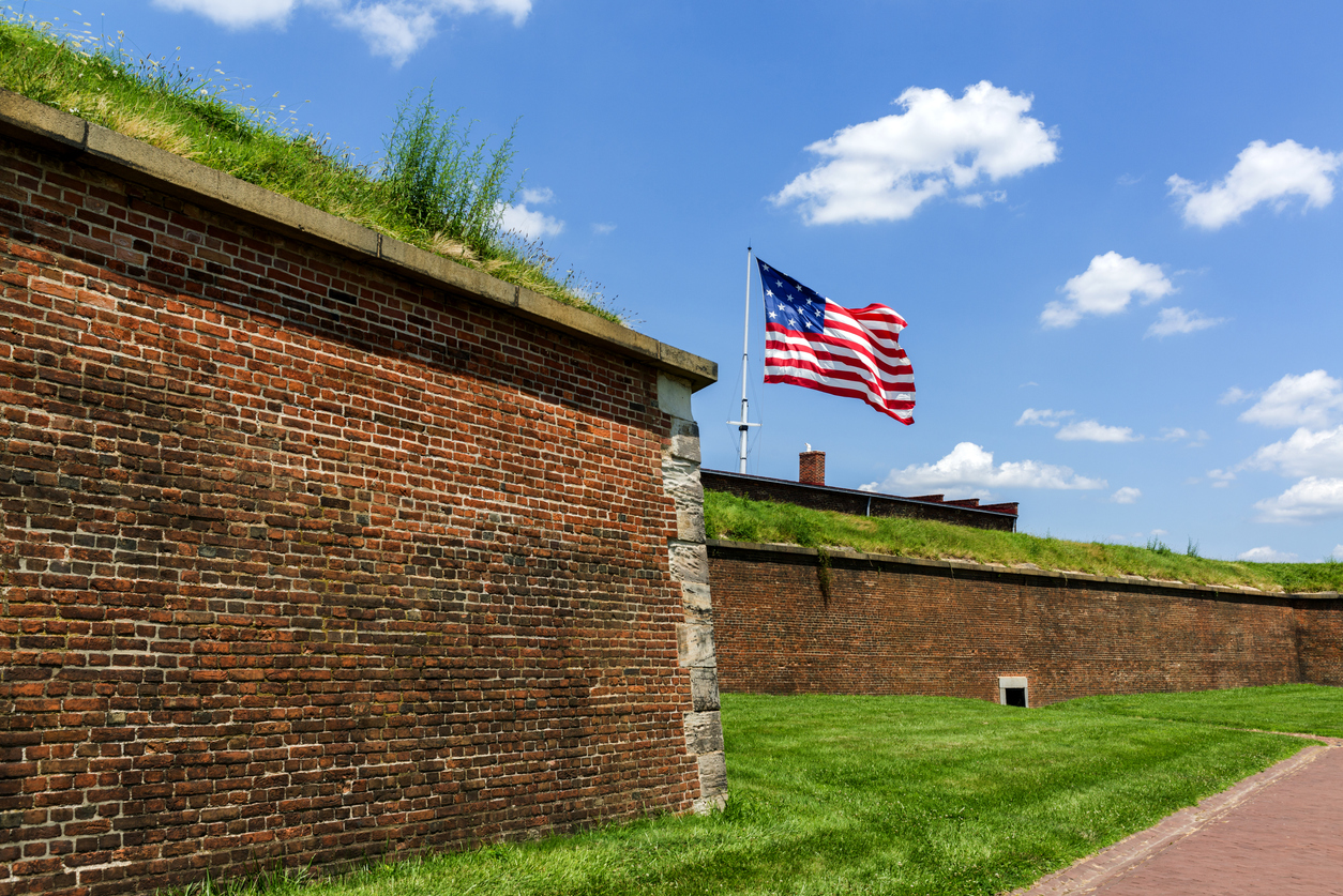 American flag flying at Fort McHenry