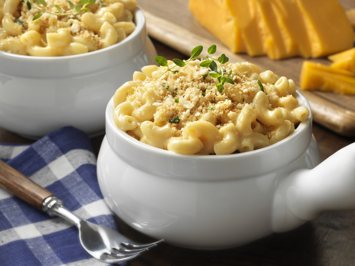 a heaping bowl of mac and cheese.