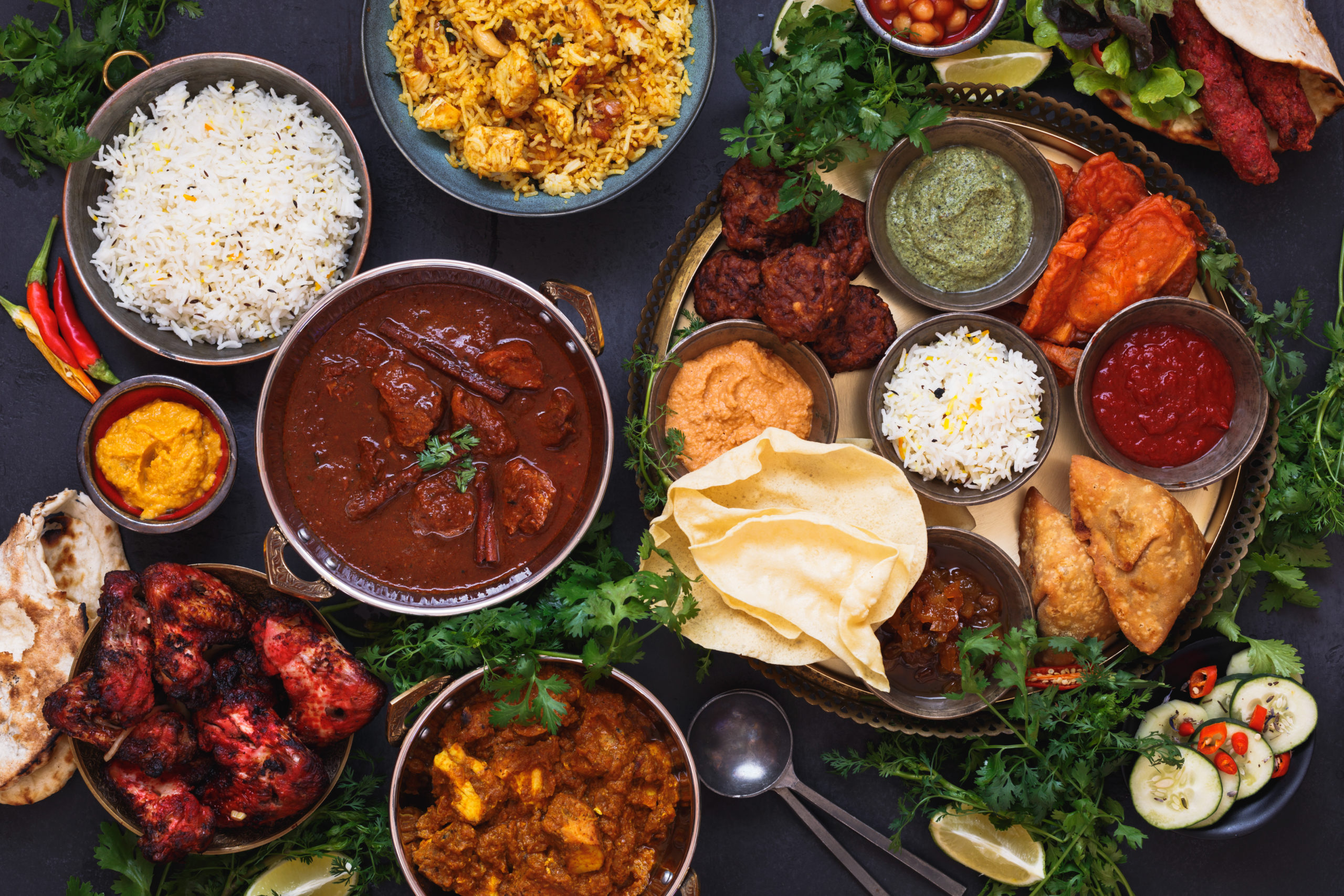 Various Indian food from a Jessup restaurant on a table