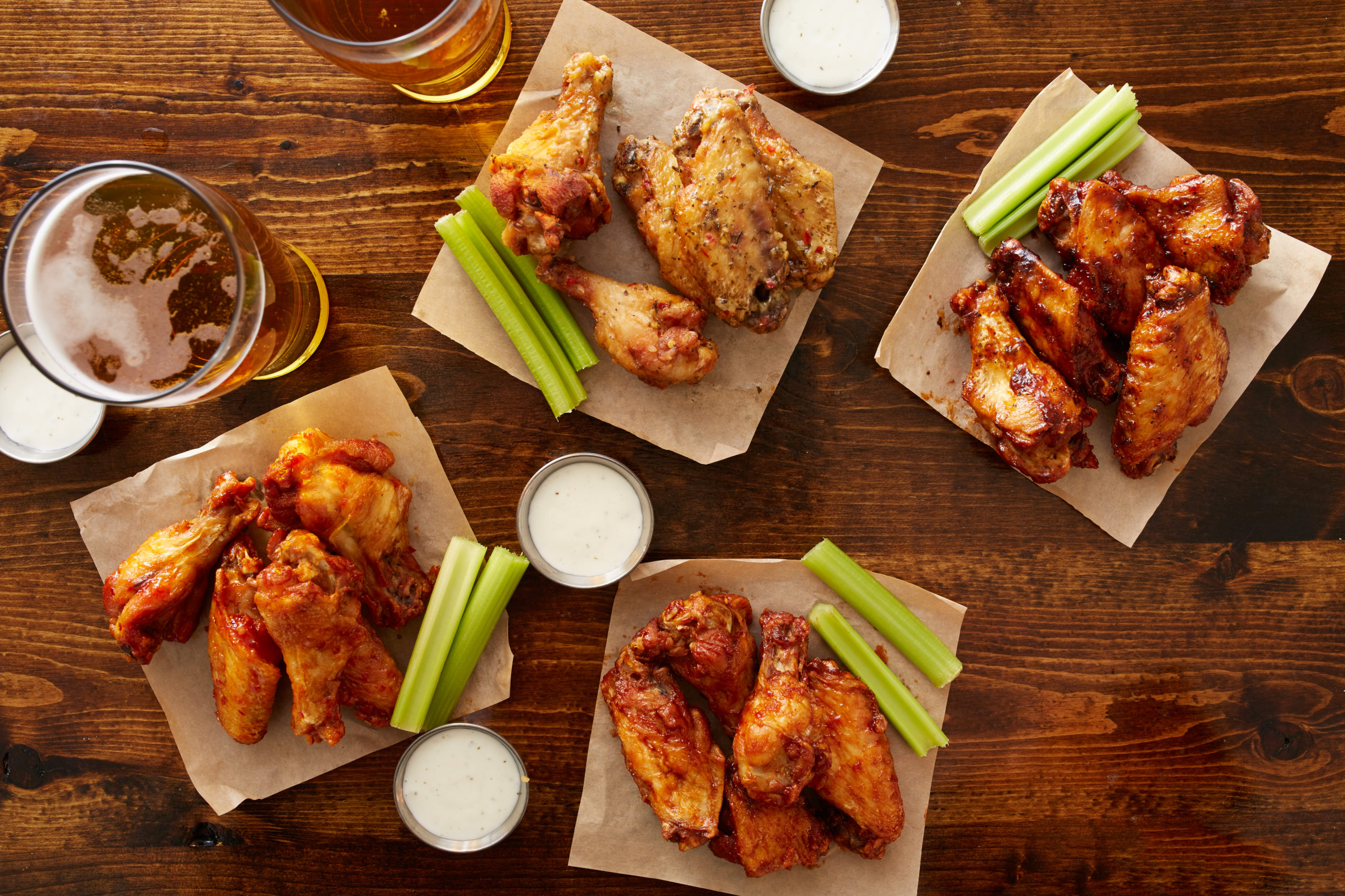 An assortment of wings on a table at a Jessup sports bar