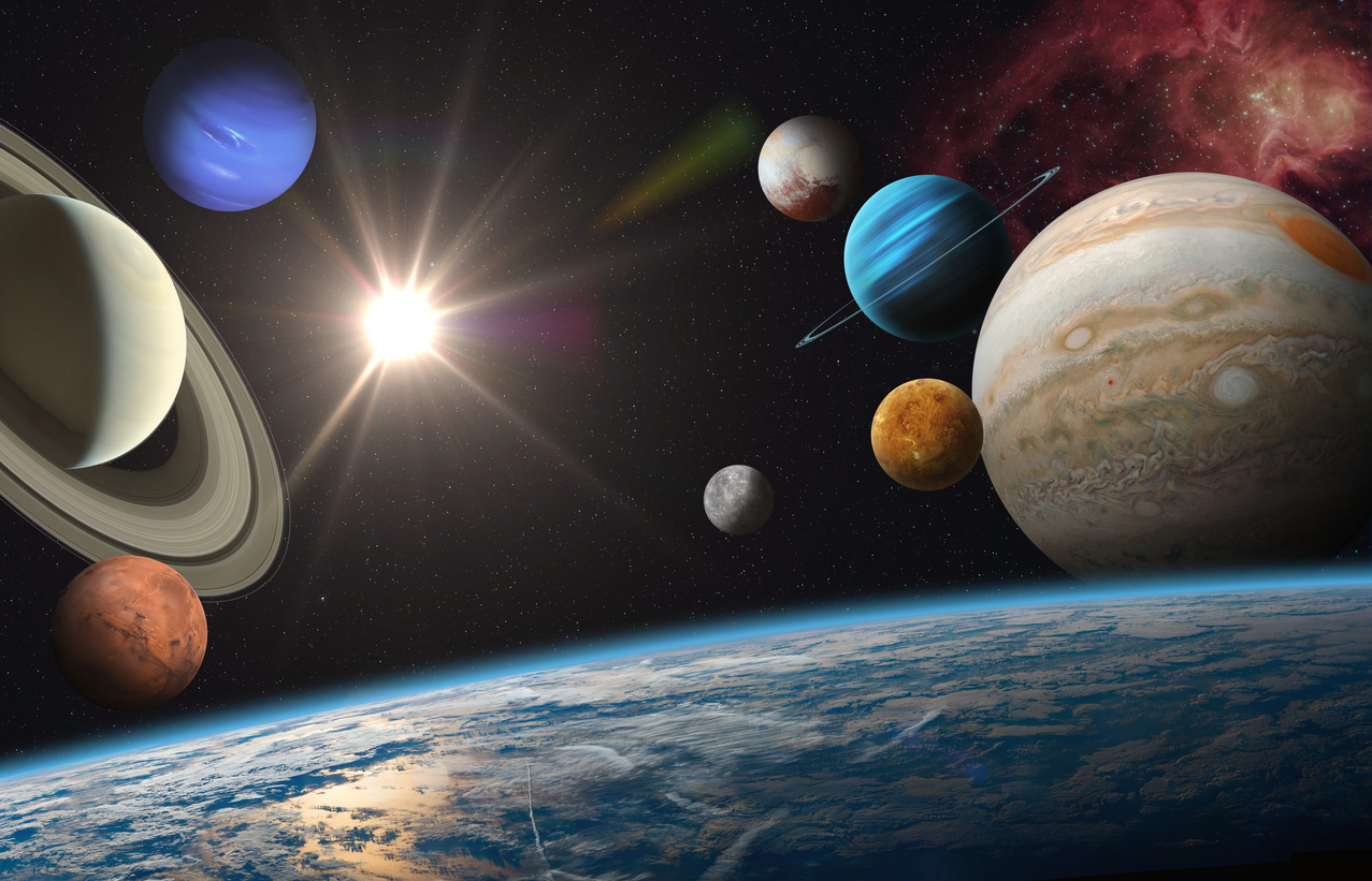 An aerial shot of the solar system in outer space | Maryland science center