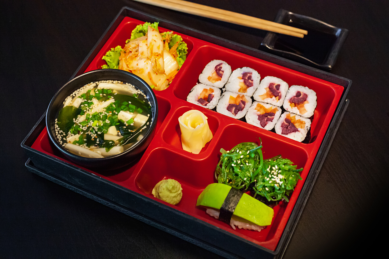 A bento box with sushi and vegetables | bento boxes in Jessup