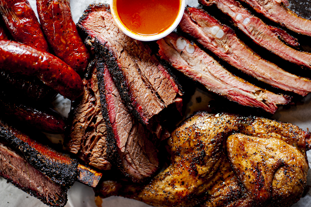 selection of barbecue meats and sauce | barbecue restaurants near Jessup
